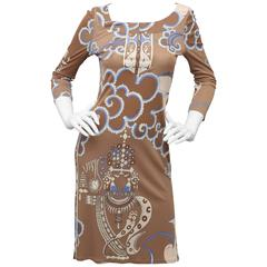 Emilio Pucci Brown Silk Dress with Signature Print