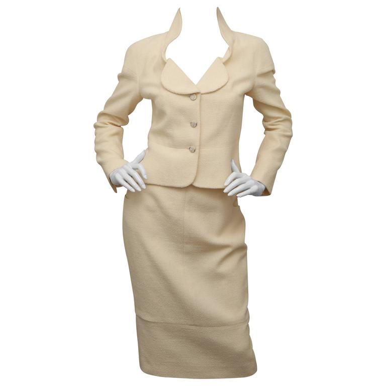 CHANEL Cream 2 Piece Skirt Suit For Sale at 1stdibs