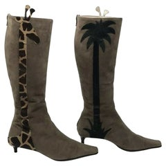 Moschino Brown Olive Suede Giraffe Boots