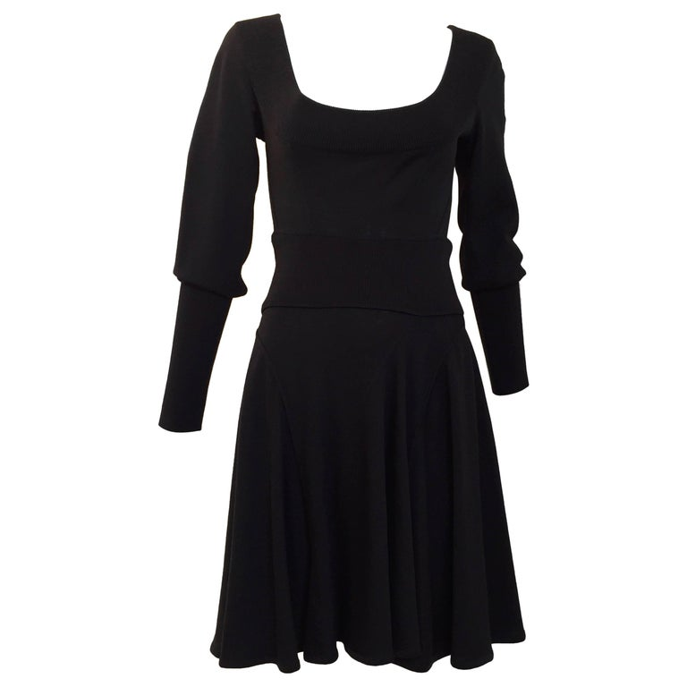 d9240bf0dd5 Vintage ALAIA black long sleeve sweater dress For Sale at 1stdibs