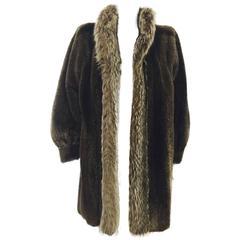 Vintage Yves Saint Laurent Sheared Raccoon Coat With Raccoon Tuxedo Collar