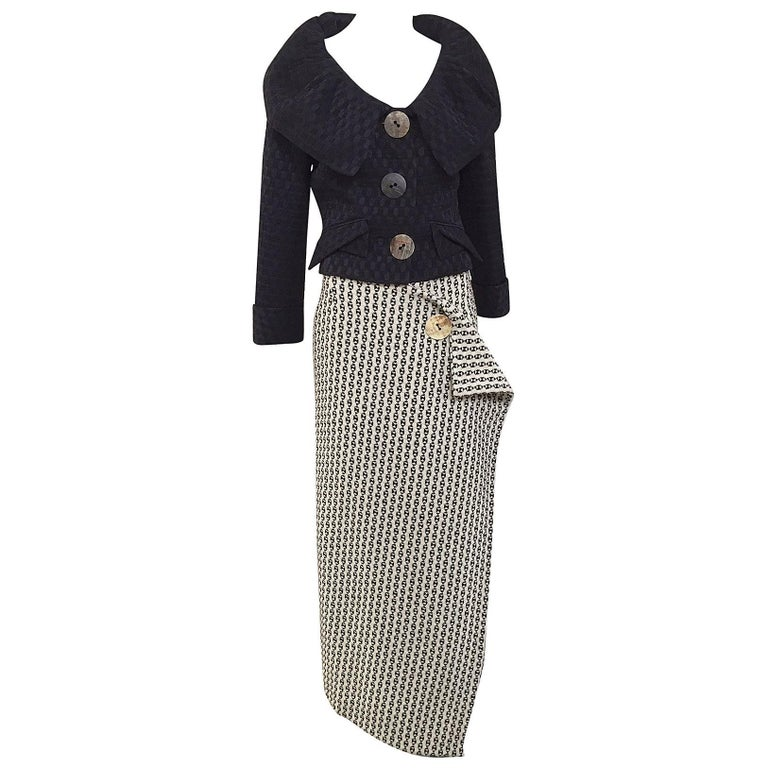 Vintage  John Galliano jacket and wool skirt set For Sale