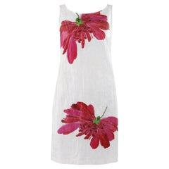 VIVIENNE TAM S/S 2009 Olefin Crinkle White Pink Red Flower Boat Neck Shift Dress