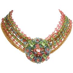Rare 1970S Chanel Multi Colored Crystal Glass Collar Necklace