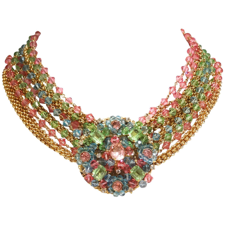 Rare 1970s Chanel Multi Colored Crystal Glass Collar Necklace Christian  Dior Vintage Five Strand Multicolor Pearl Choker Necklace