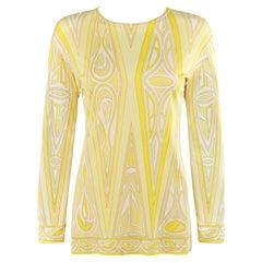 EMILIO PUCCI c.1990's Yellow Diamond Triangle Geometric Print Long Sleeve Shirt