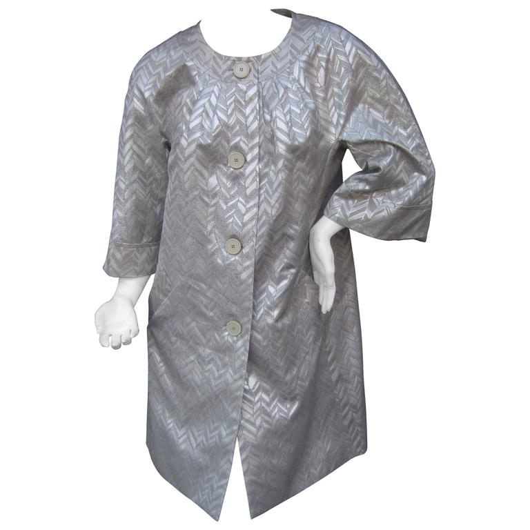 Trina Turk Silver Metallic Duster Evening Coat