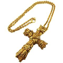 Christian Lacroix Vintage Massive Ribbed Textured Cross Necklace