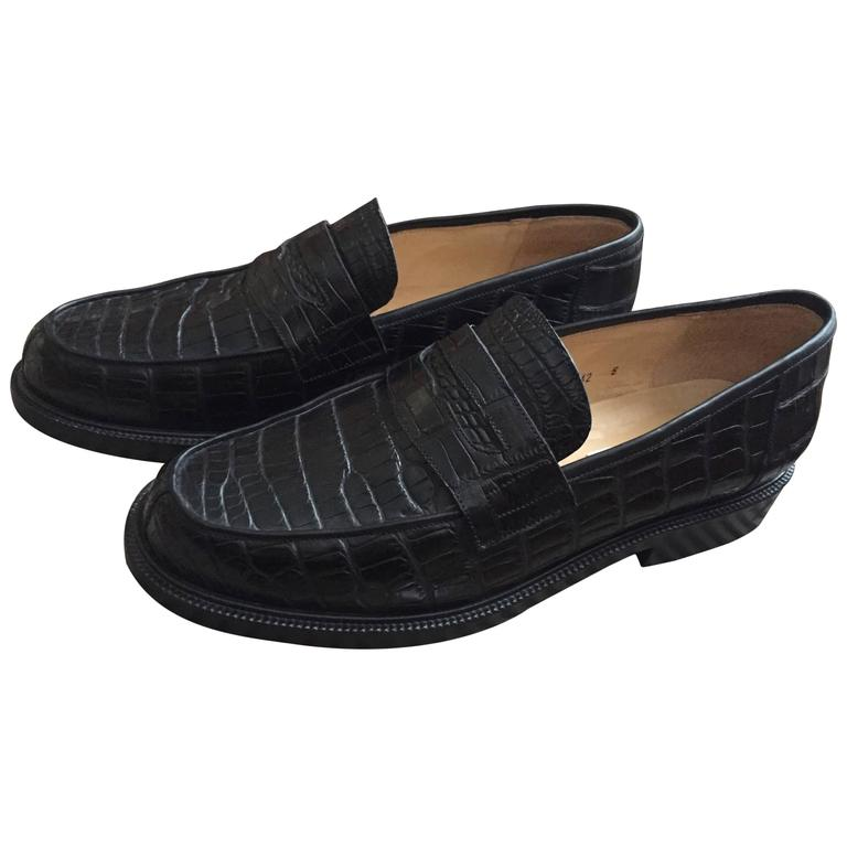 Sartore Paris Mens Black Alligator Penny Loafers 1