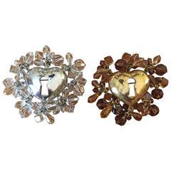 Christian Dior Pair of Heart Pins
