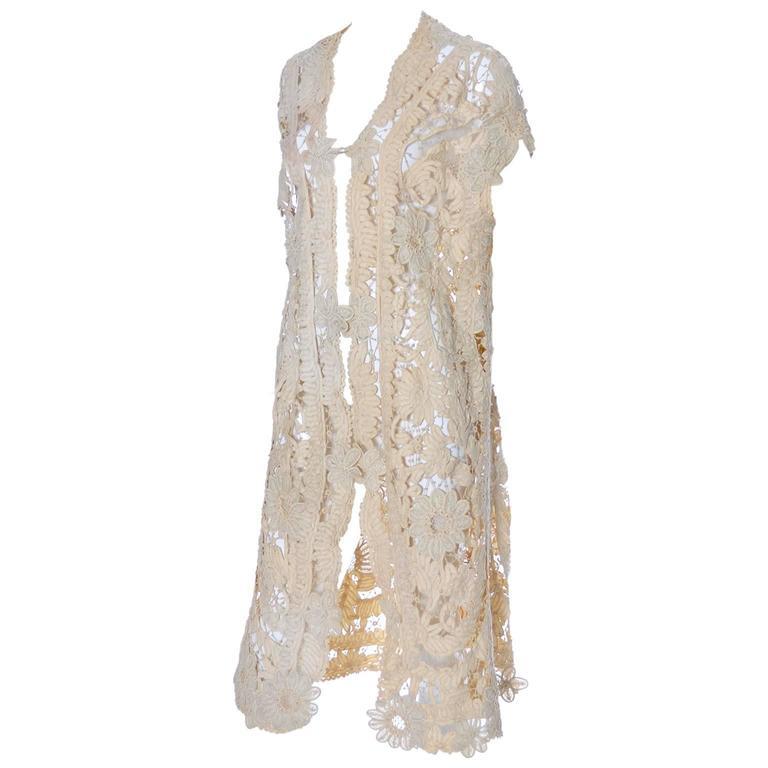 Lace Edwardian Waistcoat Vest or Jacket Vintage Battenburg Needle Mixed lace
