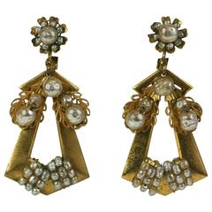 Miriam Haskell Victorian Revivalist Long Earrings
