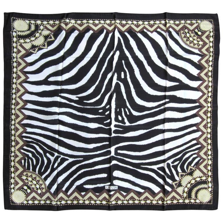Silk Escada B & W Zebra Scarf Never worn New Old Stock 1990s