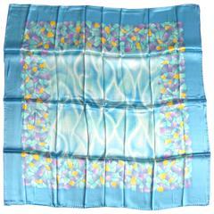 1980's Silk Escada Blue / Green Scarf Never worn New Old Stock