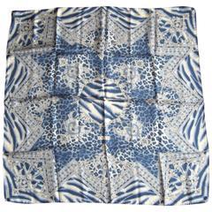 Silk Escada Blue Zebra Scarf Never worn New Old Stock 1990s
