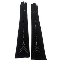 Jean Desses for Elan VTG 1950s Black Elbow Length Gloves with Rhinestone Arrows
