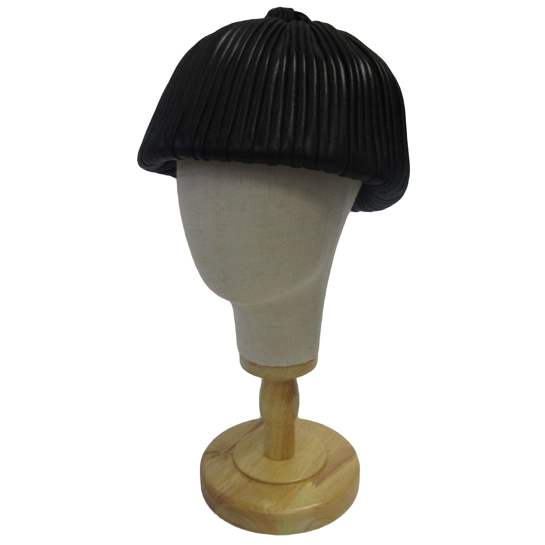 Rare 1960s Christian Dior Black Leathery Silk Chapeaux