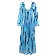 EMILIO PUCCI c.1960's Blue Wave Print Polka Dot Beach Swim Cover Lounge Robe