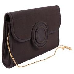 1960 Brown Silk Evening Shoulder Bag