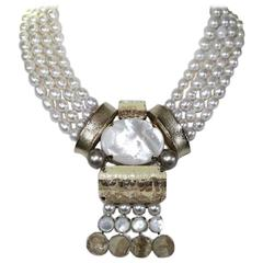 Philippe Ferrandis Glass Pearl Four Row Choker Necklace