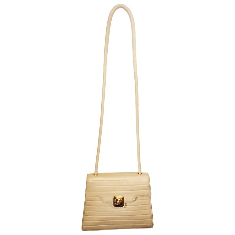 Chanel Beige Leather Cross Body bag handbag purse For Sale