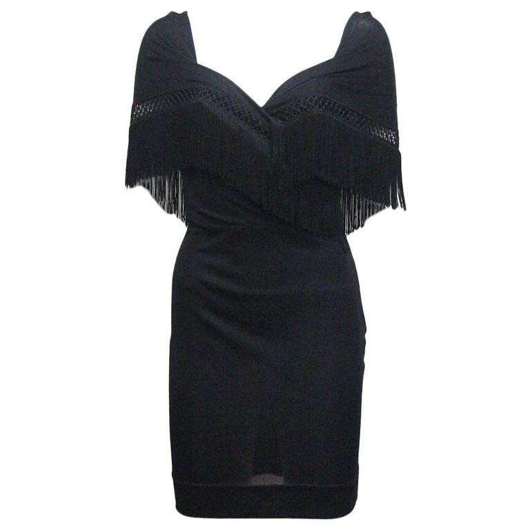 Moschino Black Fringed Shawl Mini Dress, c. 1990s For Sale