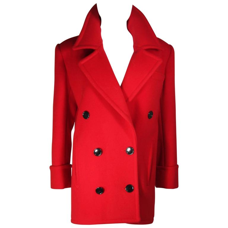 CALVIN KLEIN Circa 1980's Red Wool Peacoat Size 8-10
