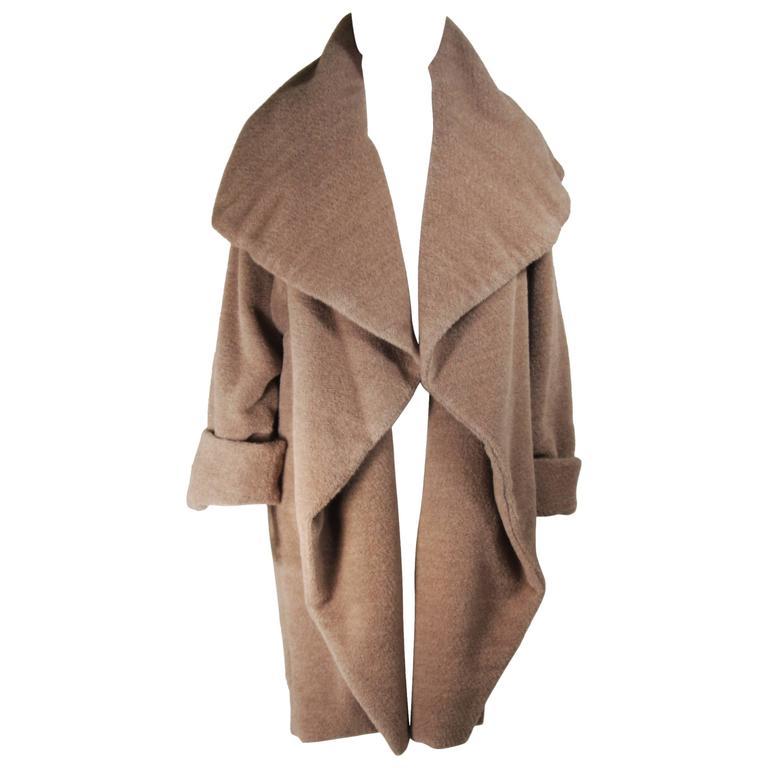 DONNA KARAN Circa 1990's Oversized Plush Nude Draped Coat size 4-6