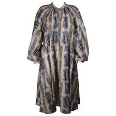 LAURA BIAGIOTTI 1980's Silk Brown and Blue Print Coat