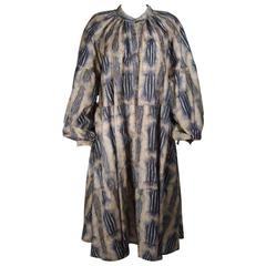 LAURA BIAGIOTTI 1980's Silk Brown and Blue Print Coat