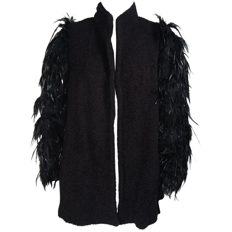 TED LAPIDUS Circa 1980's Lana Wool Jacket with Feather Sleeve Details