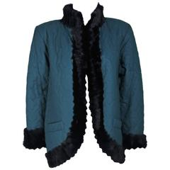 YVES SAINT LAURENT 1980s Teal Jacket Lined & Trimmed with Sheared Beaver Size 8