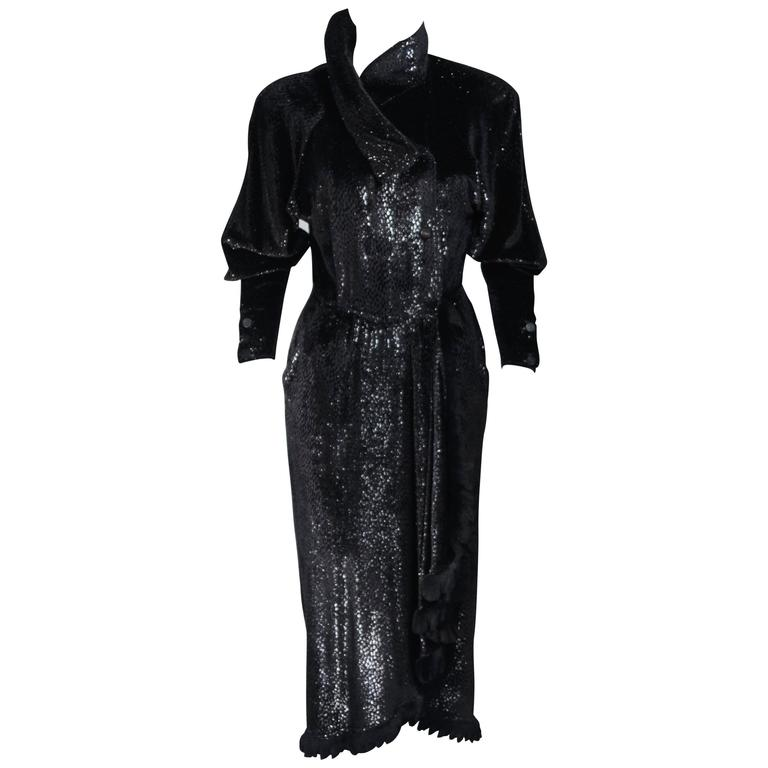 2fb9288bfcc2 FENDI 365 Circa 1980 s Black Reflective Velvet Texture Wrap Dress with Mink  42 For Sale