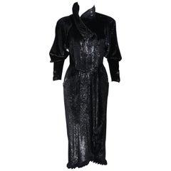 FENDI 365 Circa 1980's Black Reflective Velvet Texture Wrap Dress with Mink 42