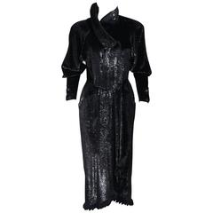 FENDI 365 Circa 1980's Black Reflective Velvet Texture Wrap Dress with Mink 42