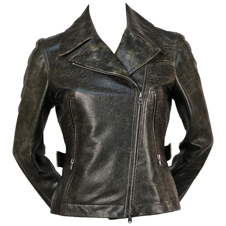 AZZEDINE ALAIA distressed leather motorcycle jacket 1