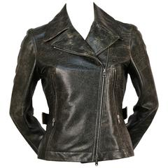 AZZEDINE ALAIA distressed leather motorcycle jacket