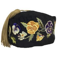 Rare Victorian Men's Silk Hand Embroidered Night Cap.  1890's.