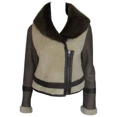 shearling lambskin fur jacket with leather details