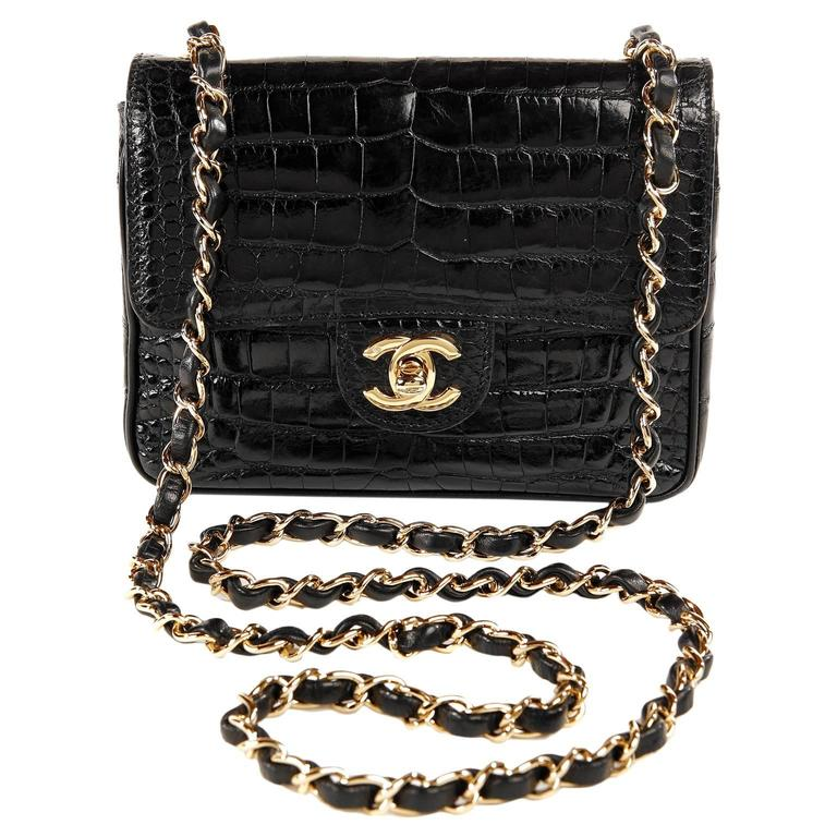 Chanel Black Crocodile Vintage Mini Classic 1