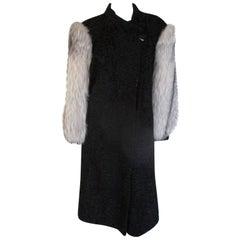 Black Astrakhan/Persian Lamb with Fox Fur sleeves