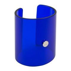 Oversized Courreges Paris Cobalt Blue Resin Lucite Cuff Bangle Bracelet