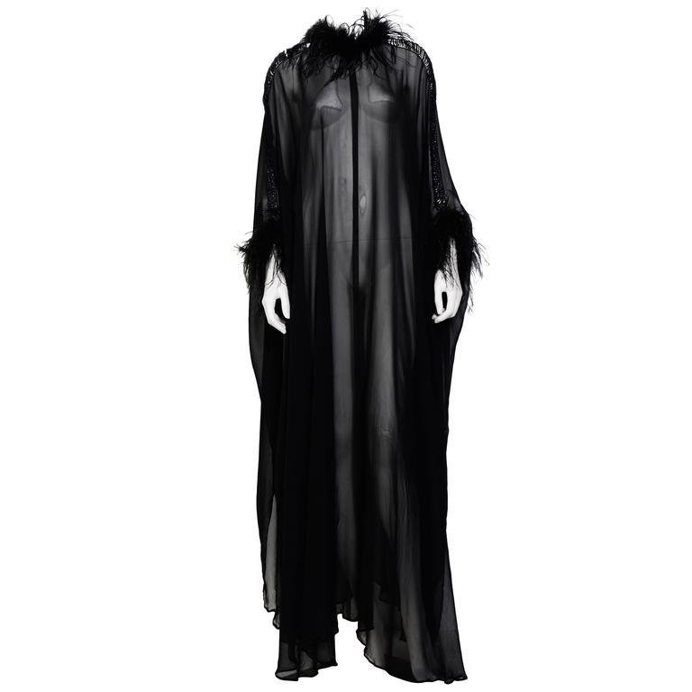 Vintage LORIS AZZARO Couture 70's Black Silk, Feather & Chain Caftan Dress