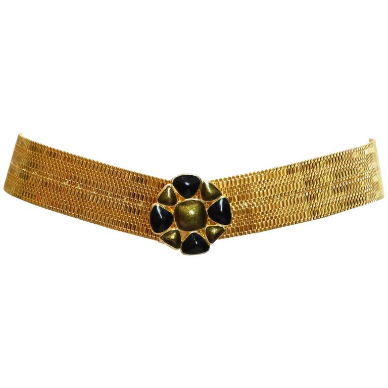 1980's Gold Mesh Belt with Enamel Pendent
