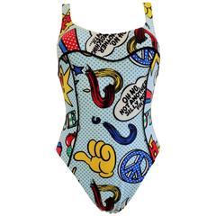 """1980s Moschino Mare Pop art swimwear """"oh no, not another silly moschino print"""""""