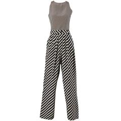 Giorgio Armani Vintage Navy + Beige Silk Striped Pants + Top 2-Piece Ensemble