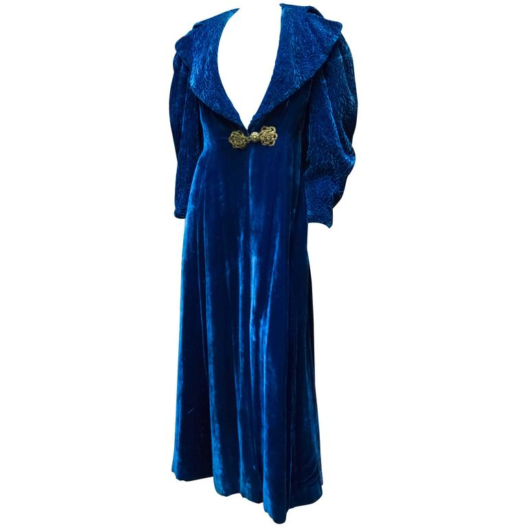 1930s Blue Velvet Opera Coat For Sale