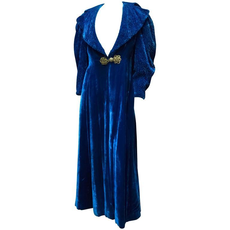 1930s Blue Velvet Opera Coat 1