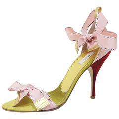 Prada evening sandals with pink bows sz 38, c. 2000s