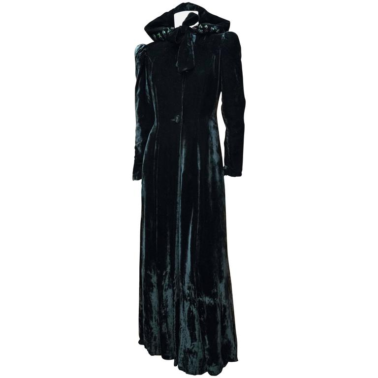 1930s Hooded Velvet Opera Coat At 1stdibs